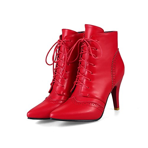 Boots Red Closed Not Boots Resistant Leather Heel Smooth Womens 1TO9 Strap Lace Up Cushioning Lining Warm Adjustable High MNS02624 Toe Urethane Water 1q5xn7gE