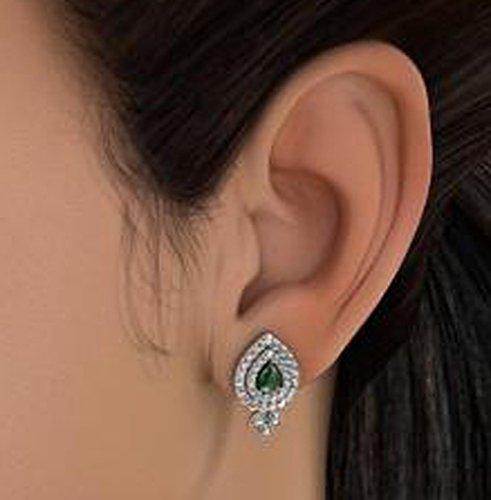 14K Or blanc 0,48CT TW Round-cut-diamond (IJ | SI) et Boucles d'Oreille à tige Émeraude
