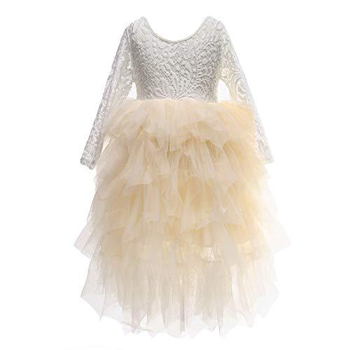 Flower Girls Tutu Lace Cake Dress Skirts Princess Birthday Party Dresses (Beige, 7T)]()