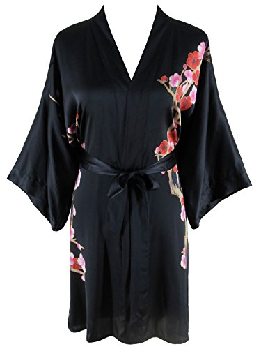 Ledamon Women's 100% Silk Kimono Short Robe - Classic Handpainted Enclosed in an Elegant Gift Box (Black)