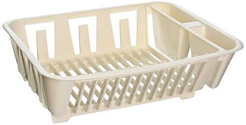Rubbermaid Antimicrobial In-Sink Dish Drainer, Small, Bisque (4-Pack) (Dish Antimicrobial Rubbermaid Small)