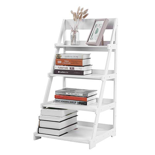 GOTOTOP Wood Plastic 4-Tier Ladder Style Shelf Plant Stand White, Ladder Shelf Bookshelf Bookcase Storage Display Leaning