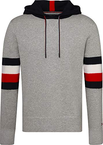 Tommy Hilfiger Men's Relaxed Fit Stripe Detail Pullover Hoodie, Grey, Large