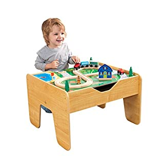 """KidKraft 2-in-1 Reversible Top Activity Table with 200 Building Bricks & 30Piece Wooden Train Set - Natural, 28.5"""" x 24"""" x 3.25"""""""