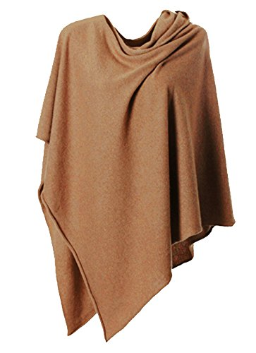 Anna Kristine Pure Cashmere Asymmetrical Draped Poncho – Desert Camel
