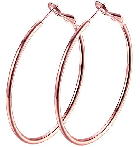 2.4 Large Hoop Earrings, Rose Gold Plated Big Basketball Hoop Earrings For Women Girl sensitive Ears