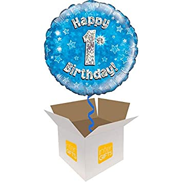 InterBalloon Helium Inflated Happy 1st Birthday Blue Holographic Balloon Delivered In A Box Amazoncouk Toys Games
