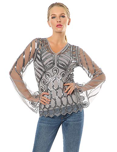 Metme Pagoda Sleeve Tops Lace Cover Up V Neck Sequins Art Deco Inspired See-Through Shirt with Adjustable Camisoles Grey + Silver, Medium, US 8-10 (Pagoda Designs Outdoor)