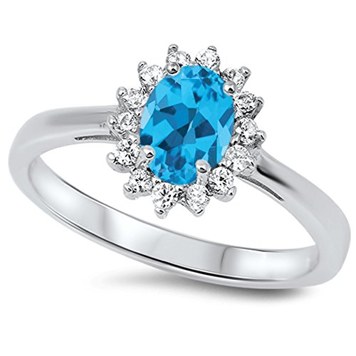 (925 Sterling Silver Faceted Natural Genuine Sky Blue Topaz Oval Flower Halo Ring Size 12)
