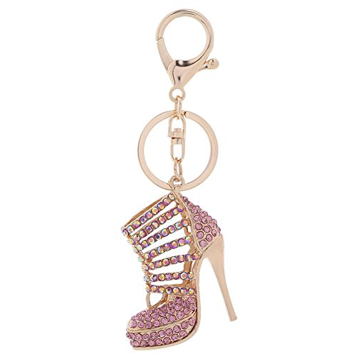 Vktech High Heel Shoe Key Chain Rhinestones Keyrings Purse Charm Car Bag Hanging Pendant Key Holder Decor Gifts  /Rose Gold (Heel Purse)