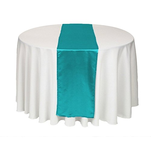 MDS Pack Of 10 Wedding 12 x 108 inch Satin Table Runner For Wedding Banquet Decoration- Teal