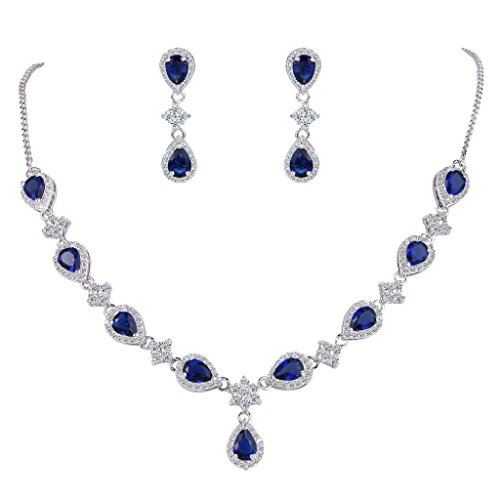 Jewelry Zirconia Cubic Sapphire (EleQueen Women's Silver-Tone Cubic Zirconia Teardrop Flower Bridal V-Necklace Set Dangle Earrings Sapphire Color)