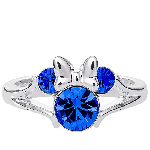 (Disney Minnie Mouse Birthstone Jewelry for Girls, Silver Plated Sapphire Blue Crystal September Ring Size 4, Mickey's 90th Birthday Anniversary )