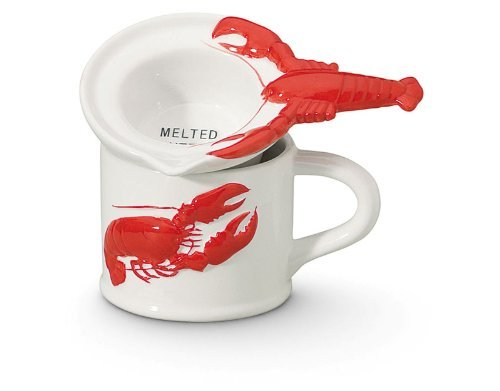 Coastal Nautical Red and White Lobster Butter Warmer Pot Set Cape Shore