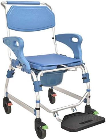 車輪付きトイレチェア、シャワーコンモードチェア、リバーシブルアームレストと防水クッション付き車椅子シャワートランスポートチェア、自宅の寝室、バスルーム用 - sabinaribeirocontabil.com.br