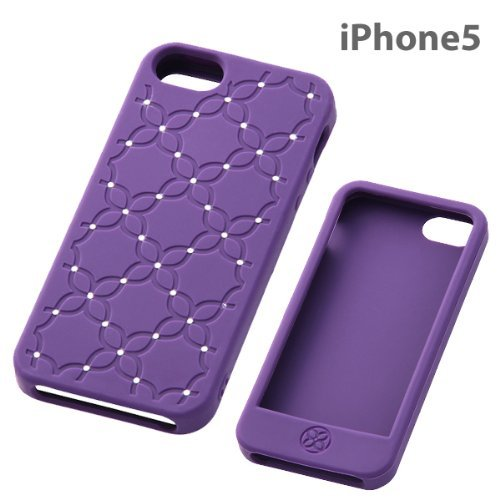 Rhinestone Floral Silicone iPhone 5 Case (Violet)