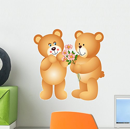 Wallmonkeys Teddy Bear Offering Flowers Peel and Stick Wa...