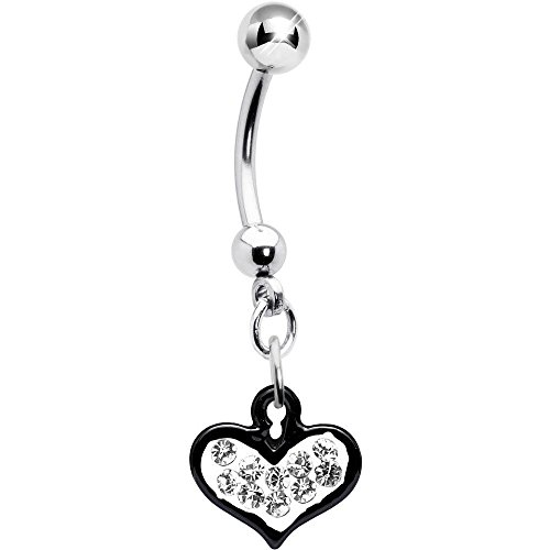 Clear Gem Black Framed Keyhole Heart Dangle Belly Ring