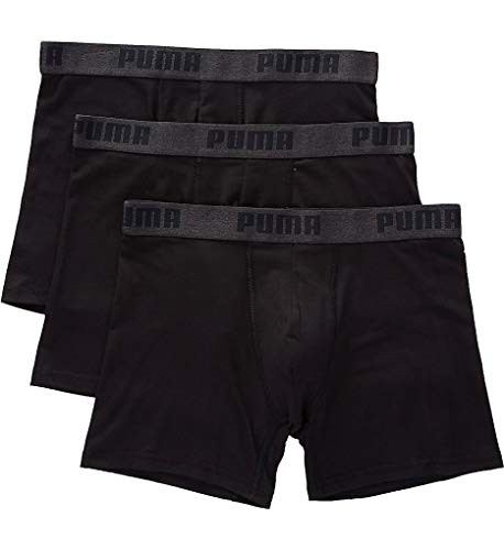 Puma Underwear Men - PUMA Men's 3 Pack Performance Cotton Stretch Boxer Brief Underwear (Black, Large)