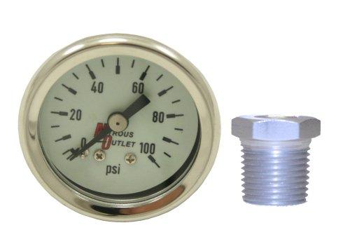 Outlet Npt (Nitrous Outlet Luminescent Fuel Pressure Gauge & 3/8 NPT/ 1/8 NPT Bushing)