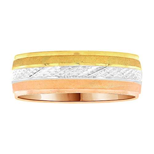 14k Tricolor Gold, Light Weight Band Ring Textured Sparkle Cut Design 6mm Wide Size 12.5 by GiveMeGold