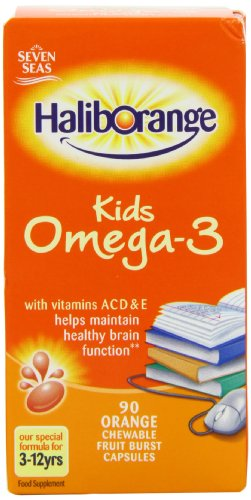 Seven Seas Haliborange enfants Oméga-3 avec 90 capsules de vitamines orange à croquer Fruit Burst