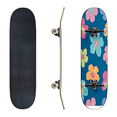 EFTOWEL Skateboards Colorful Hibiscus Flowers Colorful Seamless Stock Illustrations Classic Concave Skateboard Cool Stuff Teen Gifts Longboard Extreme Sports for Beginners and Professionals : Sports & Outdoors