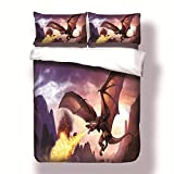 2018 New Fire Dragon with Wings Bedding Set Home Textiles Luxury Microfiber Bedclothes 3D Animal (Size : AU Double 3pcs)