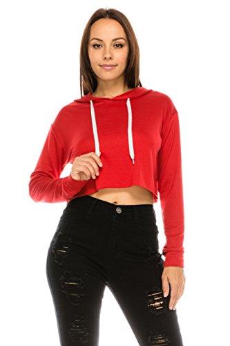 The Classic Women's Loose Cropped Long Sleeve Drawstring Hoodie Sweatshirt (Small, Rust)