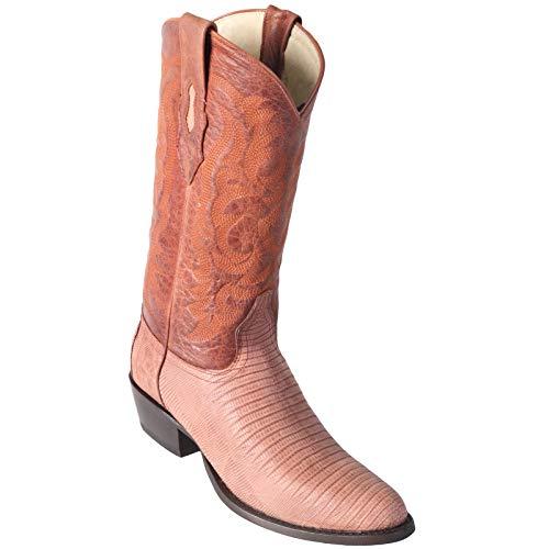 (Los Altos boots Mens Tegu Lizard Round Toe Western Cowboy Boot Cognac 8 D)