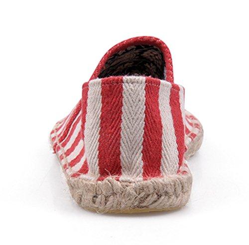 Popuus Herenmode Strepen Canvas Schoenen Loafers Voor Koppels Rood