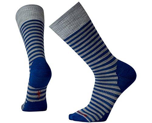 Smartwool Men's Stria Crew Socks (Dark Blue Heather) Large