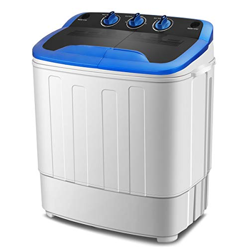 KUPPET Washing Machine, Portable Mini Compact Twin Tub Washer Spin Dryer, Ideal for Dorms, Apartments, RVs, Camping etc, White & Blue, 13Ibs (Best Rated Stackable Washer And Dryer)