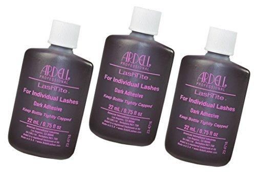 Ardell Lashtite Eyelash Adhesive Glue-Dark For Individual Lashes USA - Size 0.75 fl oz / 22ml (Pack 3) - Ardell Duralash Lashtite Adhesive