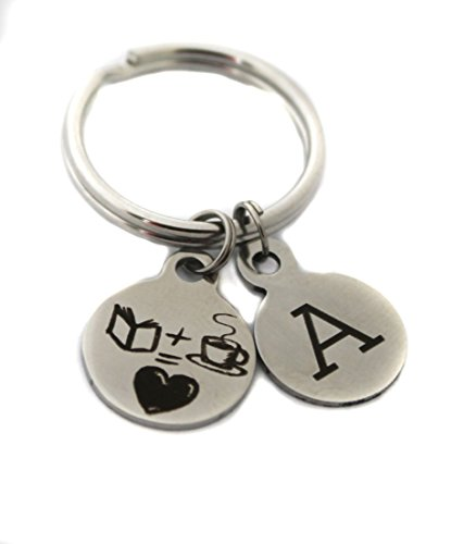 Custom ''Book + Coffee = Love'' Initial Charm Keychain Reader Book Lover Gift by Heart Projects (Image #1)