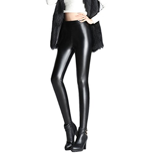 強調クリーナー暗殺者Zhuhaitf Womens Stretchy Velvet Seamless レディース スキニー 美脚 ロング パンツ Faux Leather Wet Look Full Length Leggings