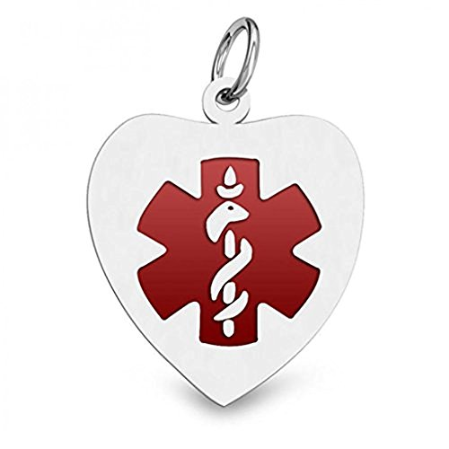 PicturesOnGold.com 14K WHITE GOLD ENAMELED MEDICAL ID HEART PENDANT - Approx. 1-1/4 Inch X 1-1/4 Inch WITH ENGRAVING (Medical Pendant Id Heart)