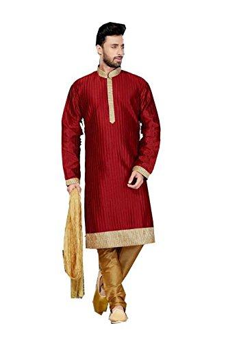 Da Facioun Mens Kurta Pajama Wedding Art Dupion Marron India Party Wear Set Of 3 by Da Facioun
