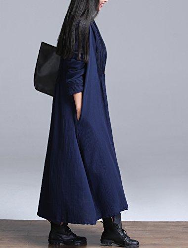 Señoras Vogstyle Plain color con Cardigan Seitentaschen Trenchcoat Azul
