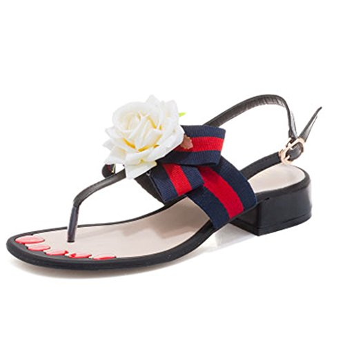 GIY Summer Beach Outdoor Flat Thong Ankle Strap Sandals with Fashion Rose for (Dark Cherry Pu Shoes)