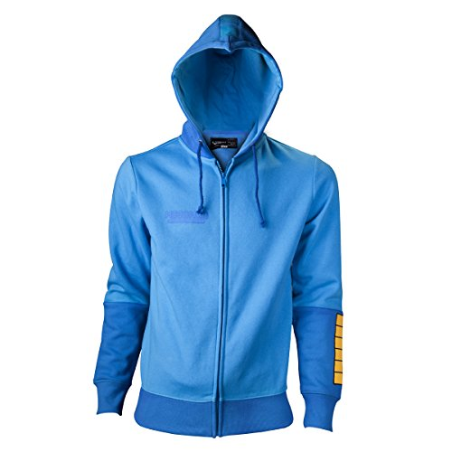 Price comparison product image Megaman Player Official Nintendo Mens Blue Zipped Hoodie