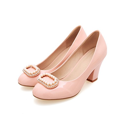 VogueZone009 Women's High-Heels PU Solid Pull-on Round Closed Toe Pumps-Shoes Pink 1qM87fzq67