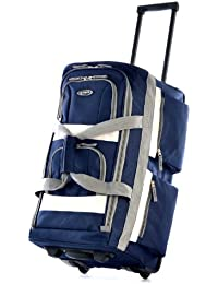 "26"" 8 Pocket Rolling Duffel Bag, Navy, One Size"