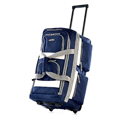 Olympia Luggage 29  8 Pocket Rolling Duffel Bag, Navy, One Size