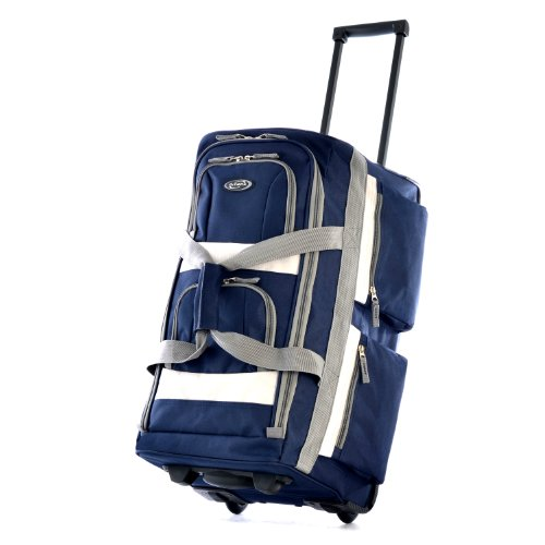 "Olympia Luggage 22"" 8 Pocket Rolling Duffel Bag, Navy, One Size"