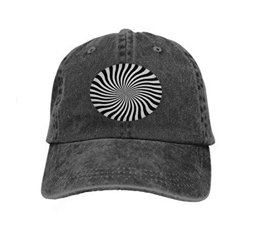 Hip Hop Baseball Cap Hat for Boys Girls Hypnotic Swirl Spiral hypnos Circles Concentric Black