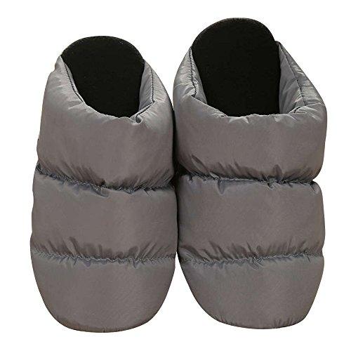 Alxcio Winter Warm Slipper Indoor Slipplers Lovers Flat Shoes Lightweight Soft Comfy Bedroom House Non Slip Down Footwear Foot Warmers for Adult Women Men, Gray/ UK Size 7.5-8.5 Gray