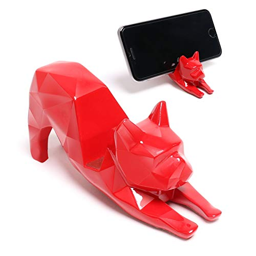 Desktop Bulldogs - iChoue Geometric French Bulldog Yoga Shape Design Cellphone Holder Mount Dog Desktop Art Resin Decor Frenchie Lover Present Gift - Red