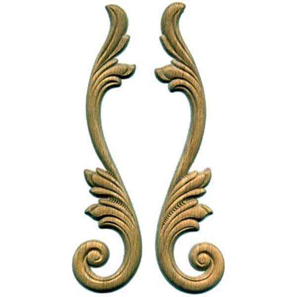 Uniqantiq Hardware Supply Acanthus Scroll Pair 2 High X 9 Long Onlay Antique Modern Furniture Doors Walls Carved Ornamental Decor Aw 538 Home Kitchen