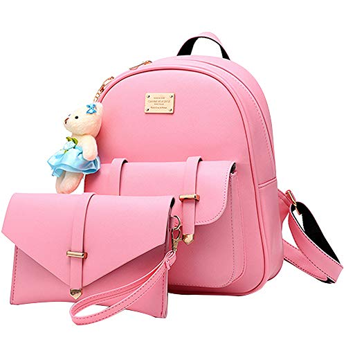 BAG WIZARD Women Mini Backpack and Wallet Set Small Purse Bag for Girls Pink